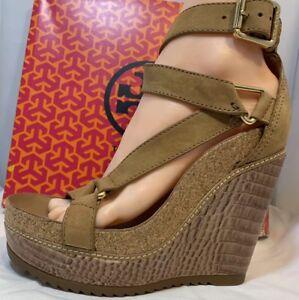 dbe0f55308827c Tory Burch Brenden Sand Nubuck Croc High Wedge Sandal Size 6.5 ...