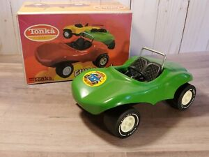 Vintage-Tonka-Truck-Fun-Buggy-Mini-Pressed-Steel-Beach-Toy-1010-Green-Boxed
