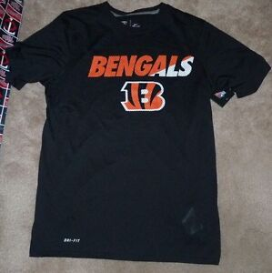 dcf8ee7a NEW NFL Cincinnati Bengals T Shirt Men S Small NIKE Dri Fit Black ...