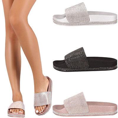239178fc5535 New Womens Jeweled Rhinestone Open Toe Slide Flat Sandal Shoe Flip Flops  Slipper