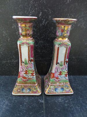2 Alte Porzellan Kerzenleuchter Kanton Stil Handbemalt China Qingzeit Signiert GroßE Auswahl;