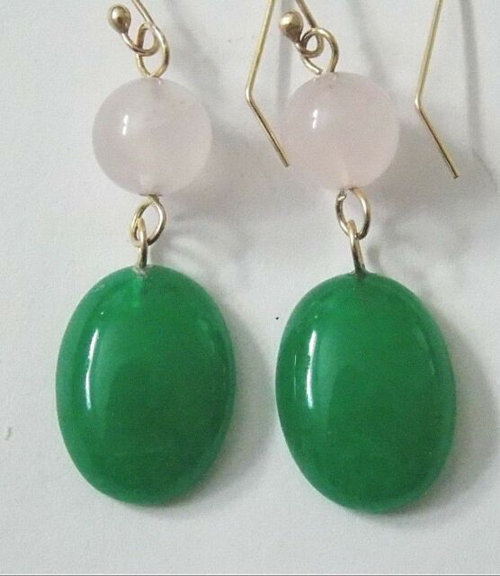 14k Solid Gold earrings Beautiful handmade PINK ROSE QUARTZ GREEN ONYX JEWELRY