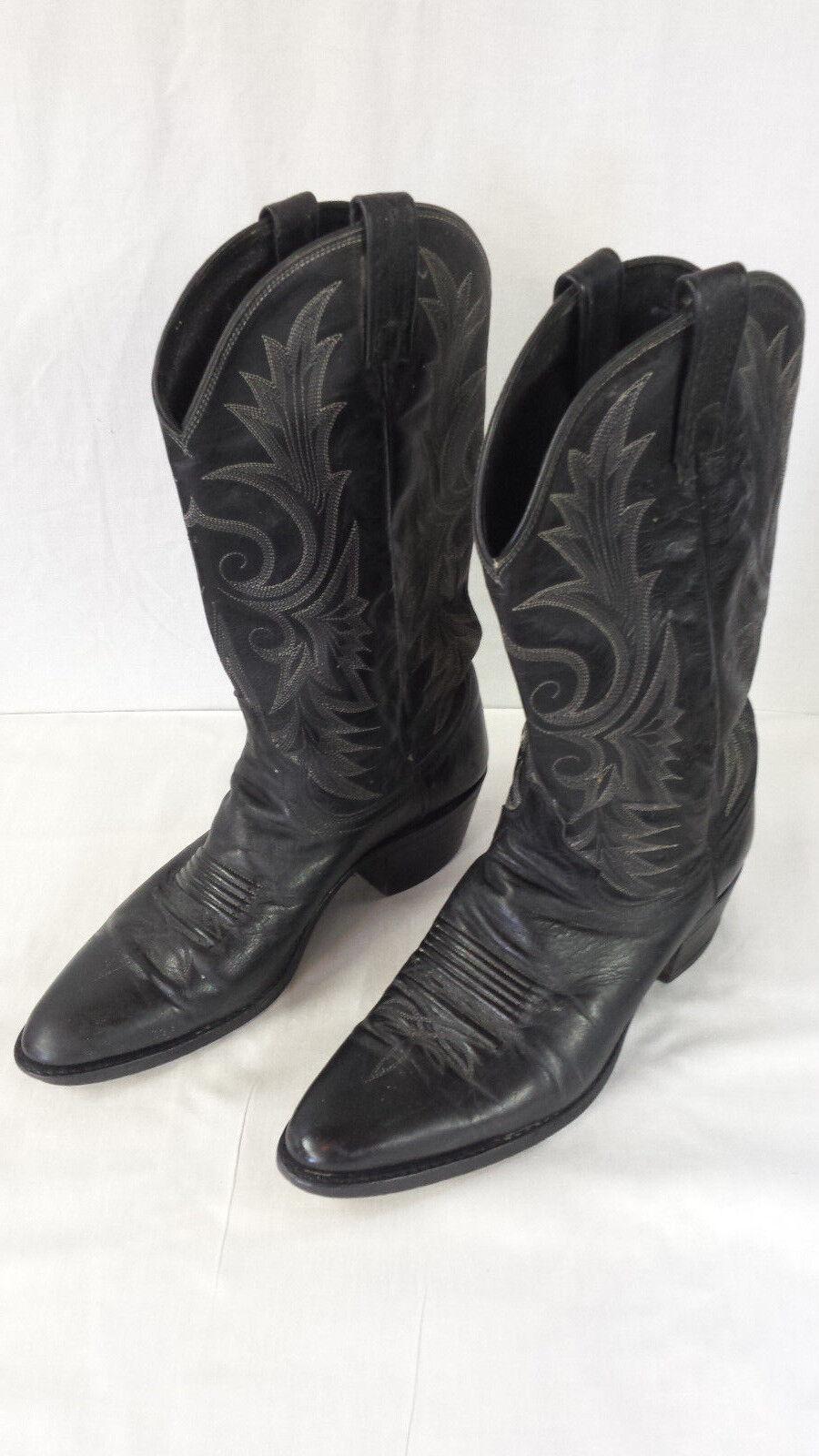 Kangaroo Leather Roper Style Western Cowboy Ride Black Men's Size 9.5 D