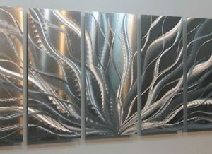 Image Is Loading Modern Silver Abstract Metal Wall Art Sculpture Galactic