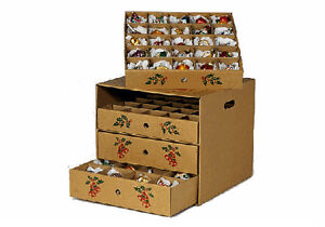 Image Is Loading 4 Drawer Christmas Ornament Storage Box Corrugated Cardboard