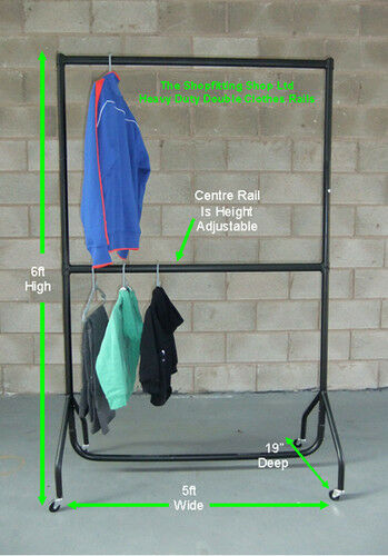 SUPER Heavy Duty doppia Impiccagione dei vestiti RAIL 5 FT (ca. 1.52 m) lungo x 6 FT (ca. 1.83 m) Alto Indumento RAIL