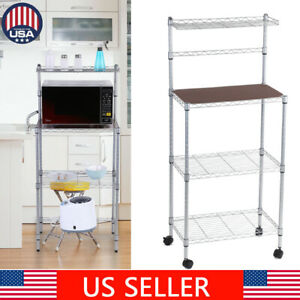 4-Tier-Kitchen-Baker-Rack-Microwave-Oven-Stand-Storage-Cart-Workstation-Shelf-US
