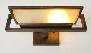 Mission Style Bathroom Wall Sconces : Bronze Light Sconce Craftsman Style Fixture Vintage Bathroom Metal Glass Wall eBay