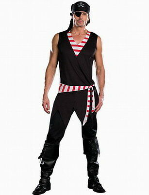 Mens Adult Deluxe Caribbean Pirate Costume Gothic Cosplay Halloween Buccaneer