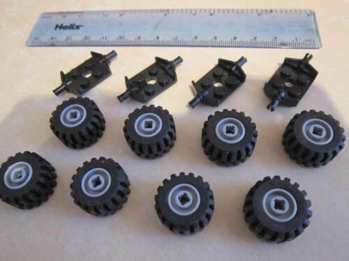 Lego Car Items 8 GREY Wheel 4 x Black Flat Axle Plates Technic Rubber Tyres