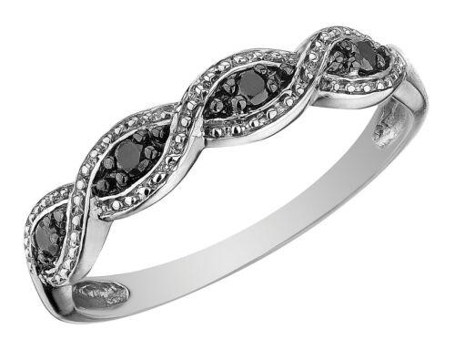 Infinity Noir Bague Diamant en 10K or Blanc