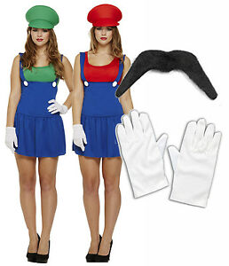 Ladies Mario Luigi 80s 90s Fancy Dress Costume Outfit Girls Lady