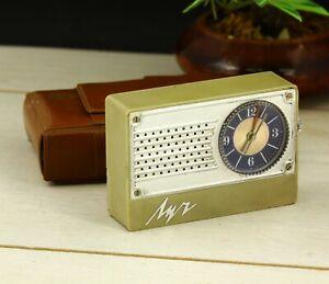 Vintage Luch mechanical USSR Soviet alarm portable pocket travel clock