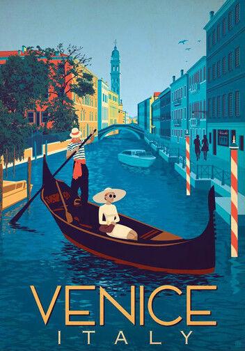 Retro Vintage Travel Poster * VENICE ITALY   LARGE A3 Size CANVAS ART PRINT