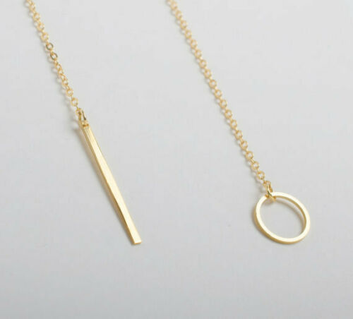 Simple Silver Gold Plated Long Chain Bar Pendant Ring Choker Necklace Women Girl