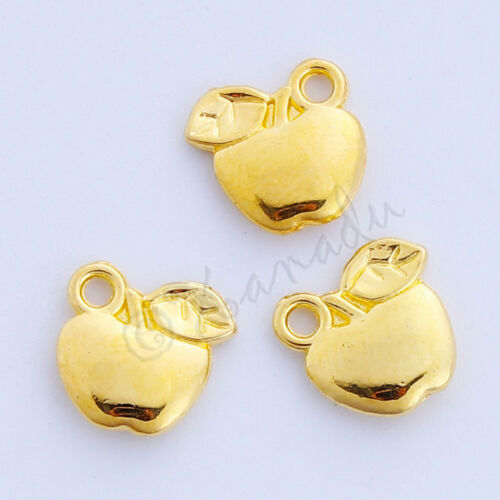 50 Or 100PCs Golden Apple Charms 11mm Gold Plated Apple Pendants C1491-20
