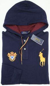 NEW-125-Polo-Ralph-Lauren-Hoodie-Navy-Blue-Long-Sleeve-Hooded-Mesh-Shirt-Mens