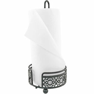 Details About Countertop Ornate Metal Paper Towel Holder Black Rustic Pretty Like Wrought Iron