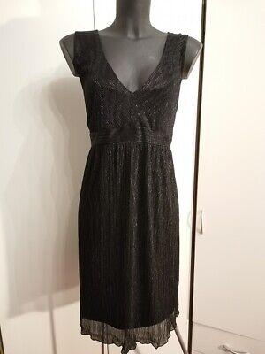 chiffon optik kleid von h&m schwarz silberfäden glanz gr