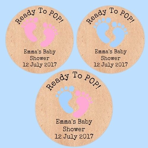 24 Personalised Ready to Pop Vintage Shabby Chic Baby Shower Stickers Labels D2