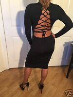 Sexy Bodycon Black Long Sleeved Open Lace up back Cocktail Party Dress L