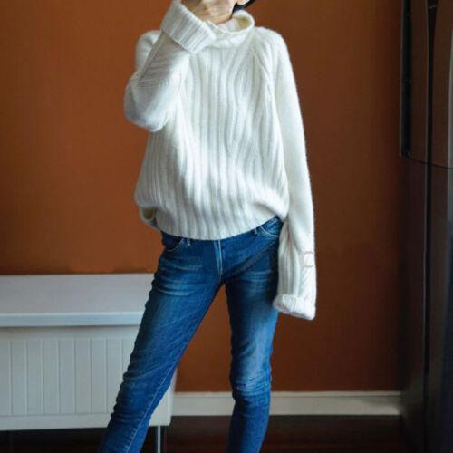Buen Mujeres Mangas Largas Suelto Suéter Jumper pulóver tejido Cuello de tortuga