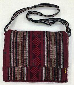 Ethnic Hippie Rasta Shoulder Bag Crossbody Beach Purse Made in Mexico BURGUNDY