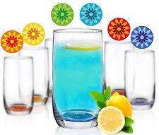 6 Saftgläser 300ml Blumen-Aufdruck Wassergläser Longdrinkgläser Cocktailgläser