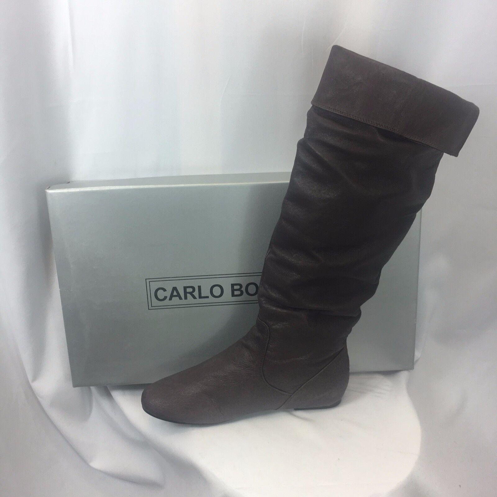 NIB New Carlo Borello Steven Knee High Pig Leather Brown Boot