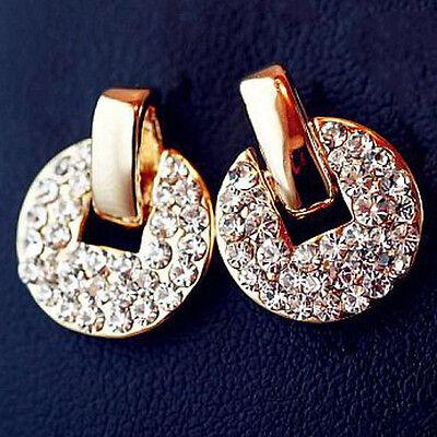 new 18k gold filled white Crystal Rhinestone Dangle Ear stud earring