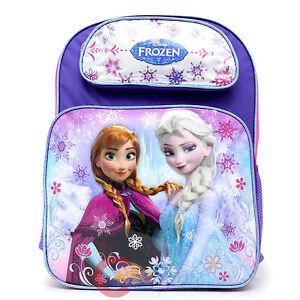 """Disney Frozen Elsa Anna Olaf 16/"""" Large School Backpack Girl/'s Book Bag"""