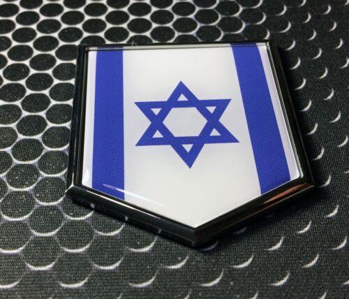 "Israel Flag Domed CHROME Emblem Proud יִשְׂרָאֵל Flag Car 3D Sticker 2x 2.25/"""