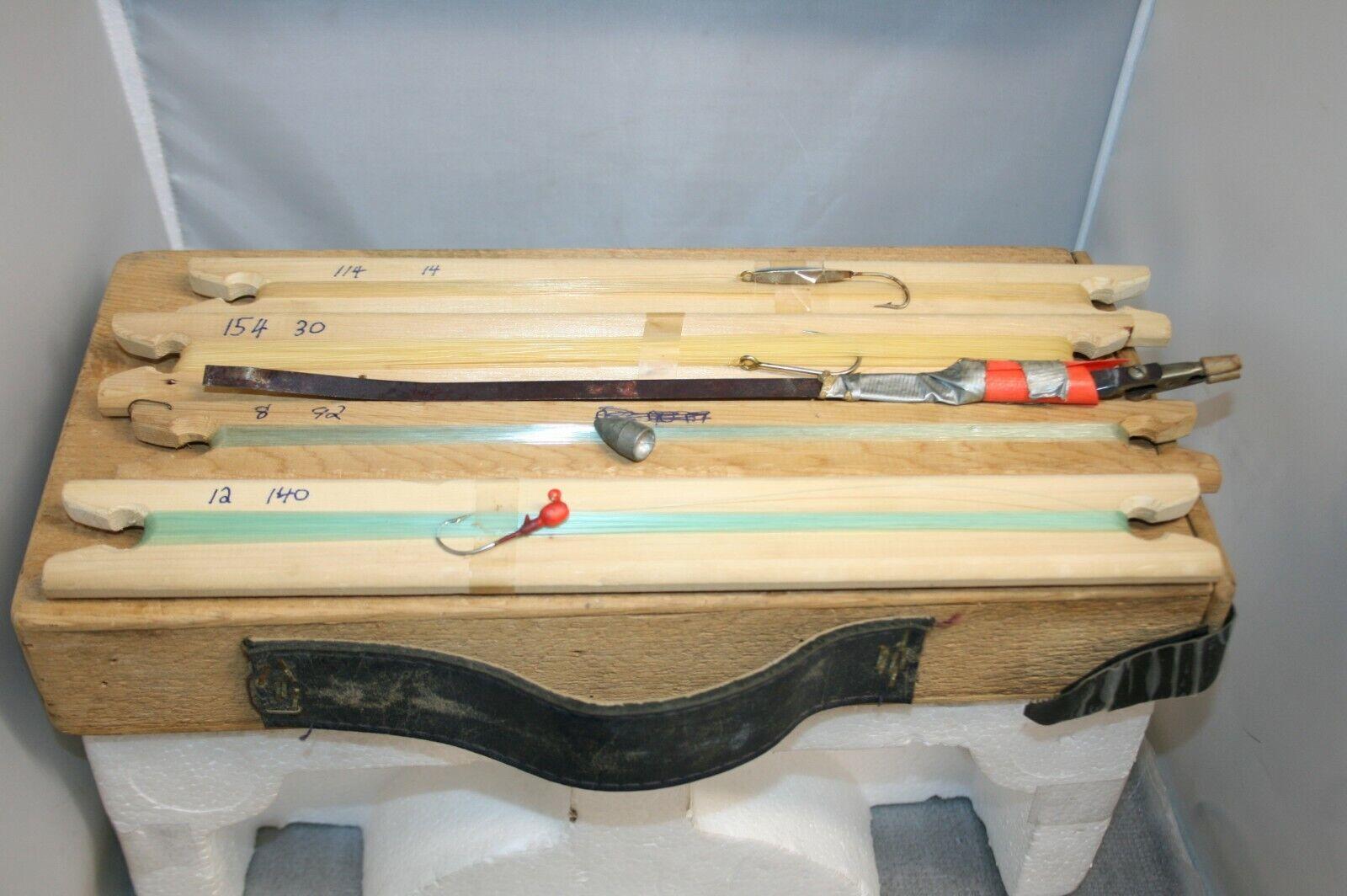 Set Vintage De 4 Ice Fishing Jig palos  con caja de almacenamiento  comprar nuevo barato