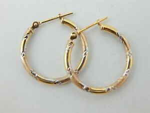 10k-Yellow-amp-White-Gold-Diamond-Cut-Hollow-Hoop-Ladies-Earrings-JCM-Dime-Size