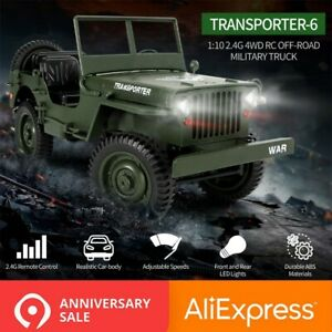 JJRC-Q65-1-10-RC-Auto-4WD-cabrio-Fernbedienung-auto-Licht-Military-Jeep-Auto-It
