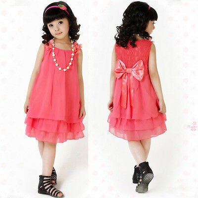 Hot! Kids Girls Princess Chiffon Lace Flower Bowknot Party Formal Dress+Necklace