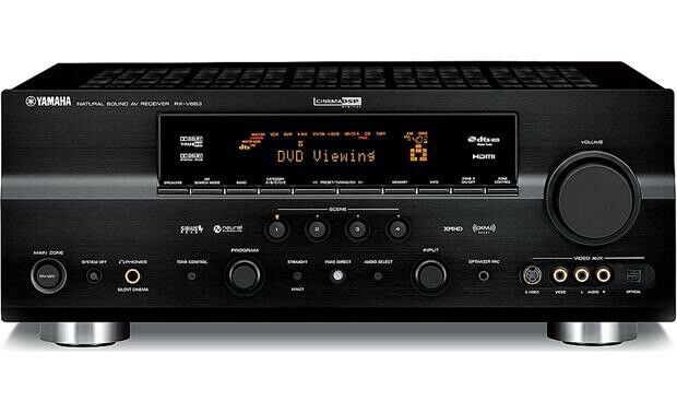 Yamaha RX V663 7.2 Channel 95 Watt Receiver with 6 Speakers and one Subwoofer.