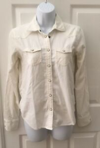 AMERICAN-EAGLE-Womens-CORDUROY-SHIRT-Pearl-Snaps-Size-XS-Ivory-TOP-L-S