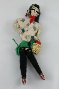 Antique Vintage Doll Of Cloth Fabric, Craft Folk España. C.1950