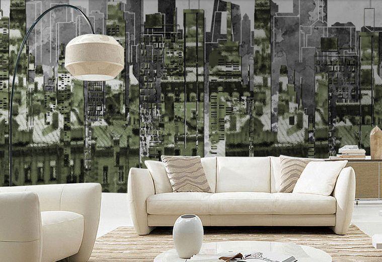 Huge 3D Building Dark Silhouette Paper Wall Print Decal Wall Deco Indoor Murals