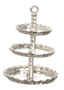 Dolls House Miniatures Kitchen Accessory Cooking 3-Tier Silver Cake stand