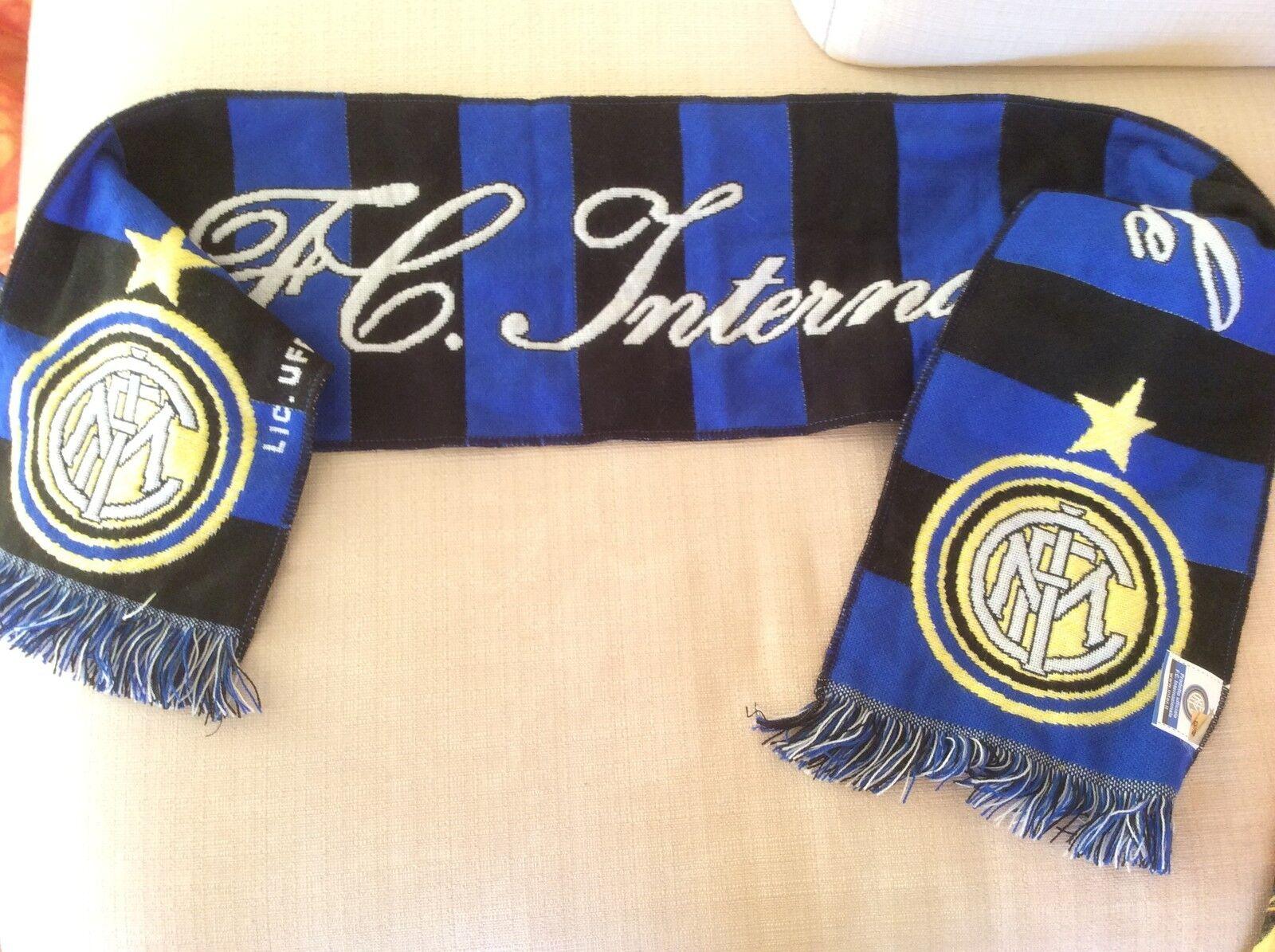 INTER F.C. INTERNAZIONALE CALCIO SCIARPA UFFICIALE DOPPIA LANA LANA LANA RICAMATA - ULTRA' a3e0de