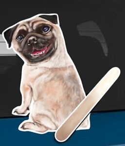 Pug Dog Rear Car Window Sticker With Wagging Tail To Fit On Wiper Arm