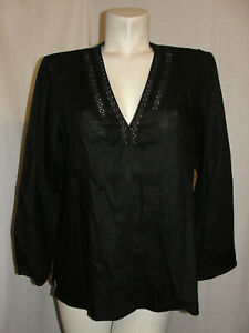 CHICO-039-S-Top-Women-039-s-Size-M-1-Black-V-Neck-Linen-Long-Sleeve-Popover-Tunic-Blouse