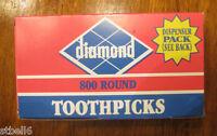 800 Diamond Wooden Round Toothpicks No Additives Bar Dispenser Pack