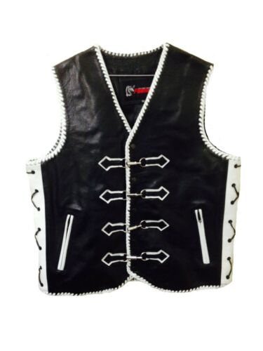 Motorcycle Vest Leather Designer Buffalo Rider Waistcoat Triple Braid Biker Vest