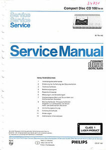 service manual instructions for philips cd 100 ebay rh ebay com Philips GoGear User Manual Philips CD- i ROMs