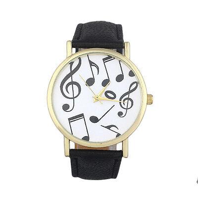 Women Casual Musical Notes Men Leather Band Analog Quartz Fashion Wrist Watch