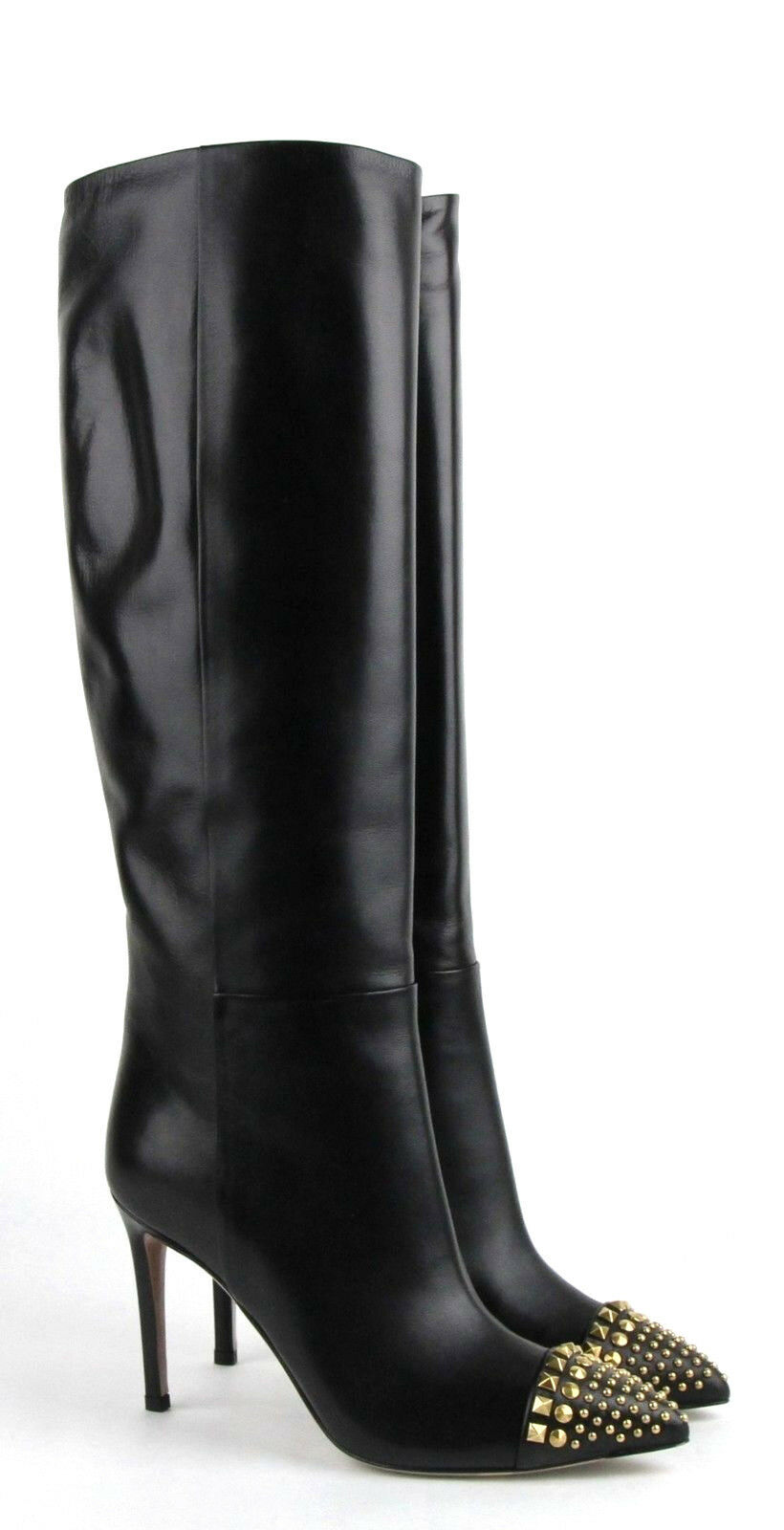 NEW AUTHENTIC GUCCI MALAGA KID KNEE HIGH BLACK LEATHER STUDDED BOOTS 9.5