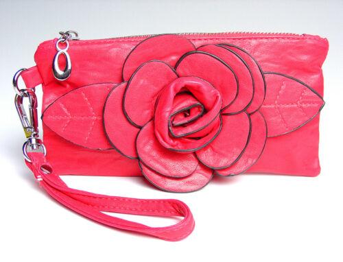 Chic Fuchsia Pink Flower Clutch Bag Purse